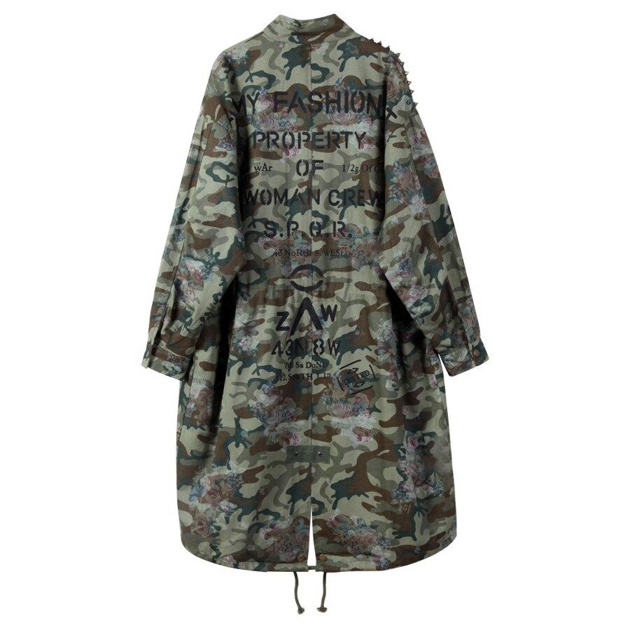 Green Feminino Imprimer Sherhure Automne Patches Vestes 2018 Army Casaco Femmes Camouflage Long Manteau Bomber Oversize XukiTOPZ