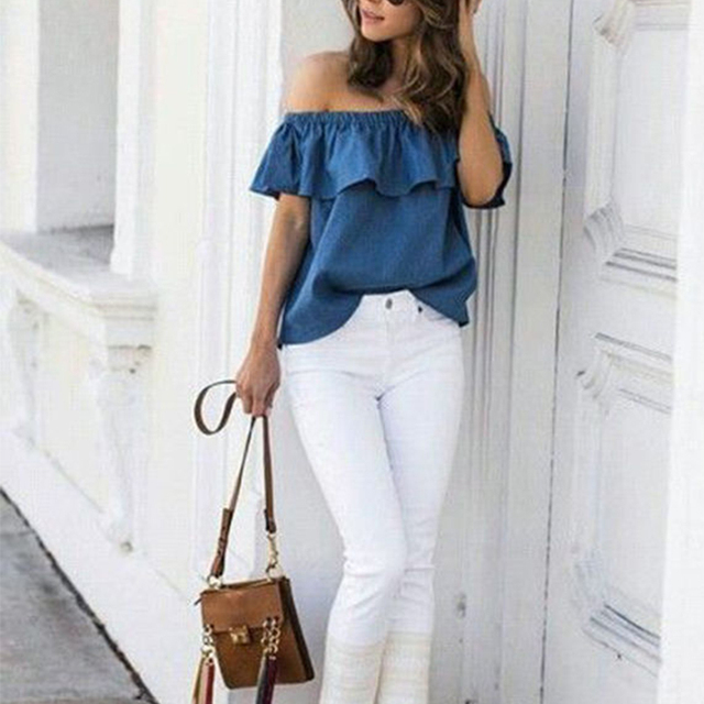 2018 Summer Women Off Shoulder Blouse Vintage Ruffles