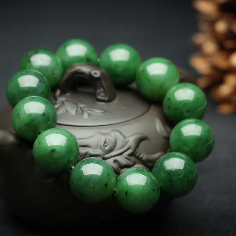 KYSZDL Natural authentic Hetian green yu stone punk style men's yu stone 18MM round beads bracelet jewelry gifts punk style beads dumbbell alloy stretch bracelet