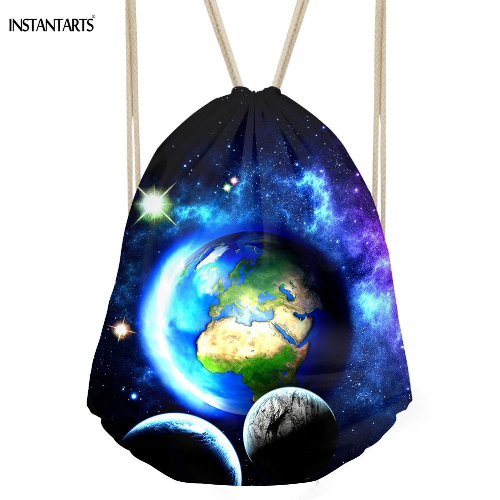 INSTANTARTS Fashion Galaxy Prints Women Man Drawstring Bag Fitness Light Mini Backpack Fashion Casual Travel Storage