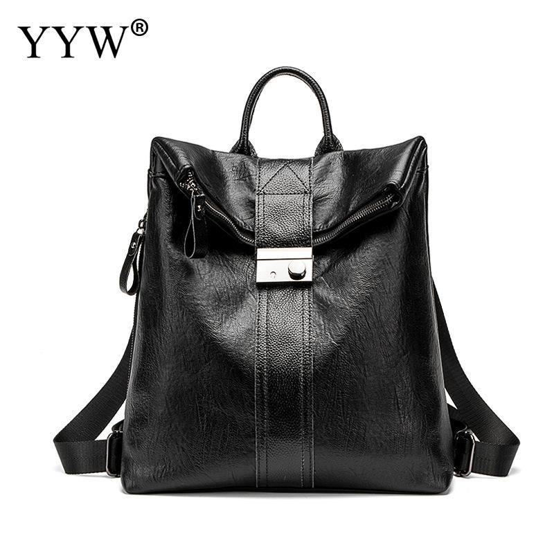 Backpack Women Rucksack Schoolbags Shoulder-Bag Teenager Black Fashion Brown Large Girl