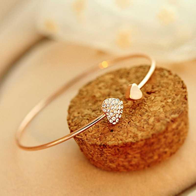 2019 Panas Baru Fashion Adjustable Kristal Hati Busur Bilezik Manset Pembukaan Gelang untuk Wanita Perhiasan Hadiah Mujer Pulseras 7G