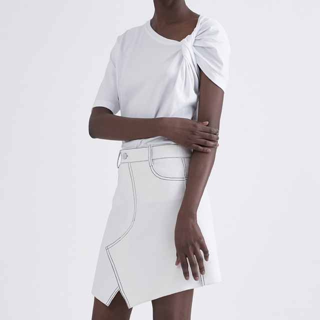TWOTWINSTYLE Ruched Basic T Shirt For Women Short Sleeve Big Size Irregular White T Shirts Top 2019 Summer Fashion New Clothing 3