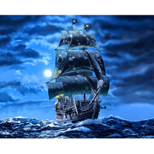 Diamond Embroidery Full square Black pearl sail ship pirates sea picture 5D Diy diamond painting mosaic home decor H49