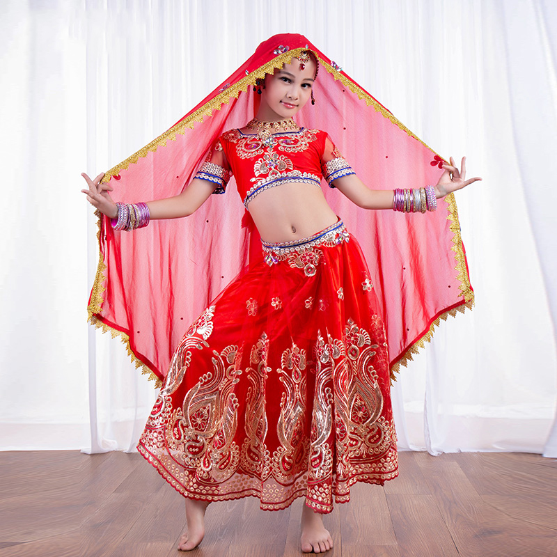 New India Dance Set For Children/Girls Scarf+<font><b>Tops</b></font>+Skirts+Pants <font><b>Bollywood</b></font> Oriental Dance Suits Stage Performance Costumes DWY1056 image