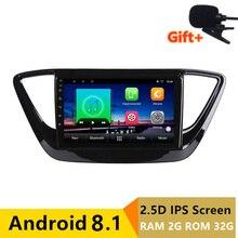 "9 ""2 + 32G 2.5D IPS Android 8.1 Car DVD Multimedia Player GPS Per Hyundai Verna Solaris 2017 2018 stereo radio audio di navigazione"