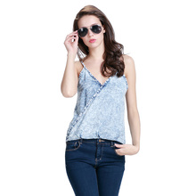Sexy V Neck Fashion Slim Fit Camis 2016 New High Low Jeans Tank Tops Camisetas Vest Spaghetti Strap Short Tee Blue