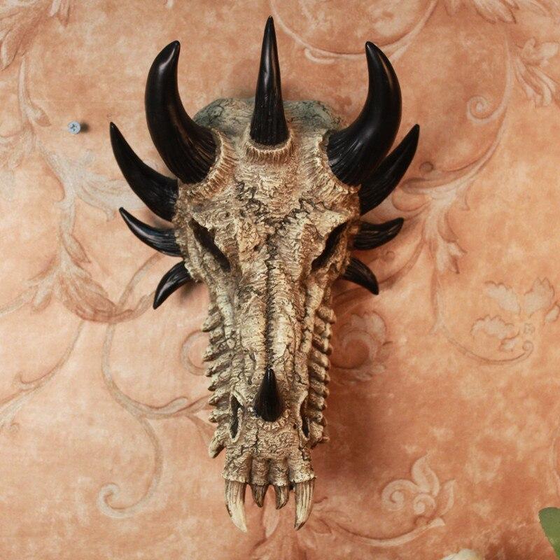 Американский кантри гобелены творческий череп, дракон Bones росписи декора/стены бар животных Дракон Череп в смоле подарок на Хэллоуин