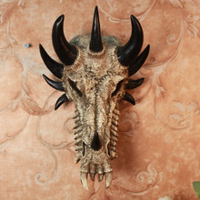 American country wall hangings creative skull, dragon bones decor Mural / Wall Bar animal dragon skull in resin halloween gift