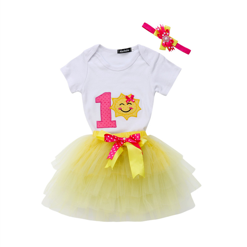 Bodysuit Romper Birthday-Party Baby-Girls Children Princess 3pcs Newborn Tutu Skirt One-Year