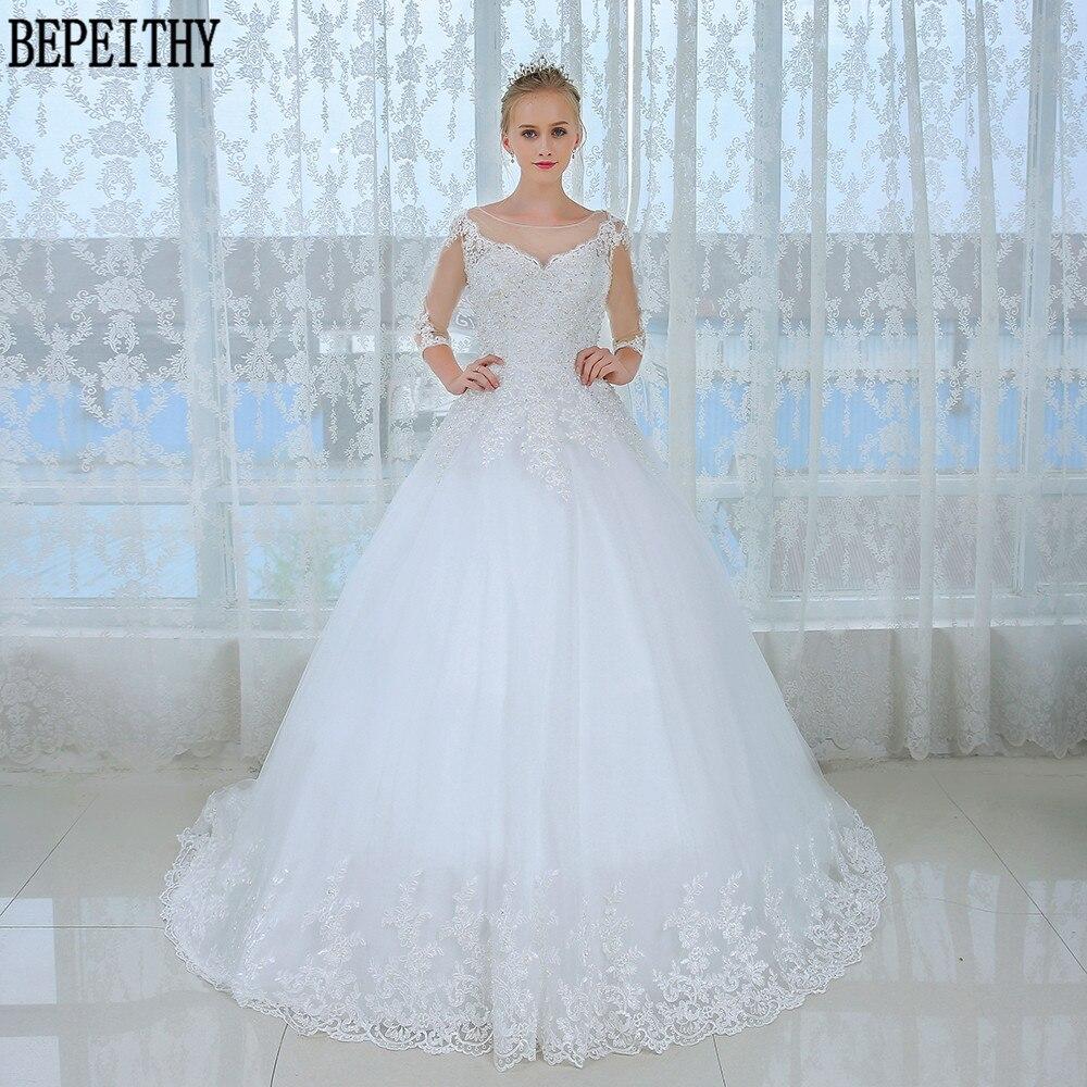 Compra vestido de novia medias mangas online al por mayor de China ...