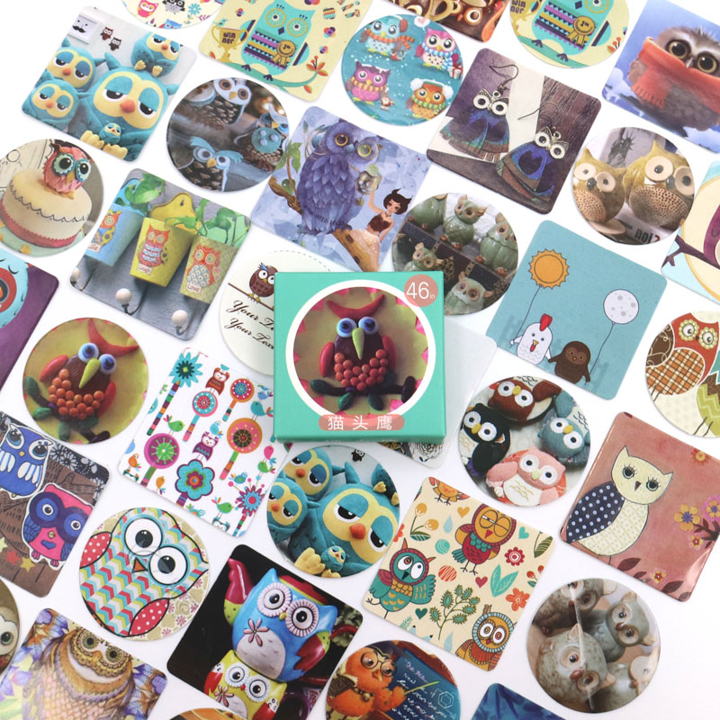 Creative Cute Owls Paper Sticker Decoration DIY Ablum Diary Scrapbooking Label Sticker Kawaii Stationery 46 pcs/lot