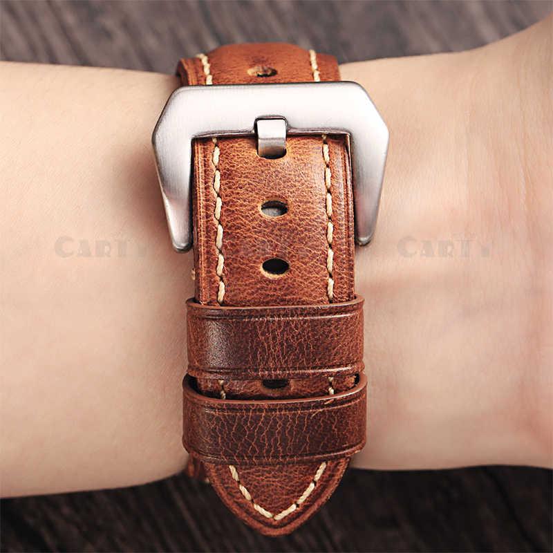 Carty 22mm 24mm Marrone Genuino Cinturino di Vigilanza del Cuoio di Ricambio Watch Band con Spazzolato Nero Fibbia In Pelle di Vitello per Panera orologio