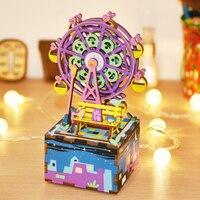 Free Shipping 3D Puzzle Building Blocks Ferris Wheel Theme Shape Design DIY Music Box Stem Toys for Children Adult Creative Gift