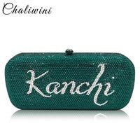 Chaliwini DIY Customize Name Letters Women Crystal Clutch Evening Handbags Purses Wedding Cocktail Diamond Minaudiere Bag