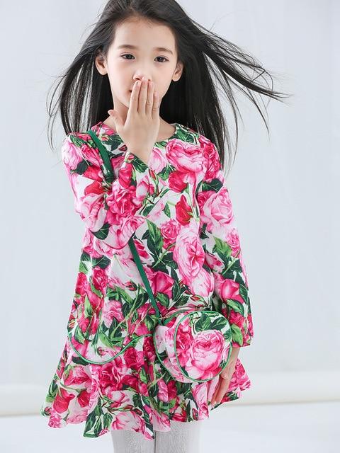 10aa5668bc040 Nouvelles Filles Rose Imprimé floral Princesse Robe Avec Sac Automne  Vintage Fleurs Robe Enfants Enfants Western