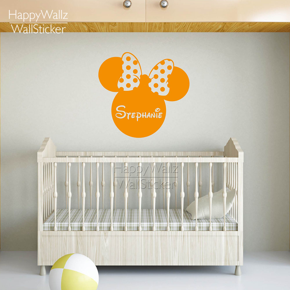 Mini Mouse Wall Sticker DIY Custom Name Wall Decal Kids Room Girls Name Wall Decor Baby Nursery Removable Wall Decoration 524C-1