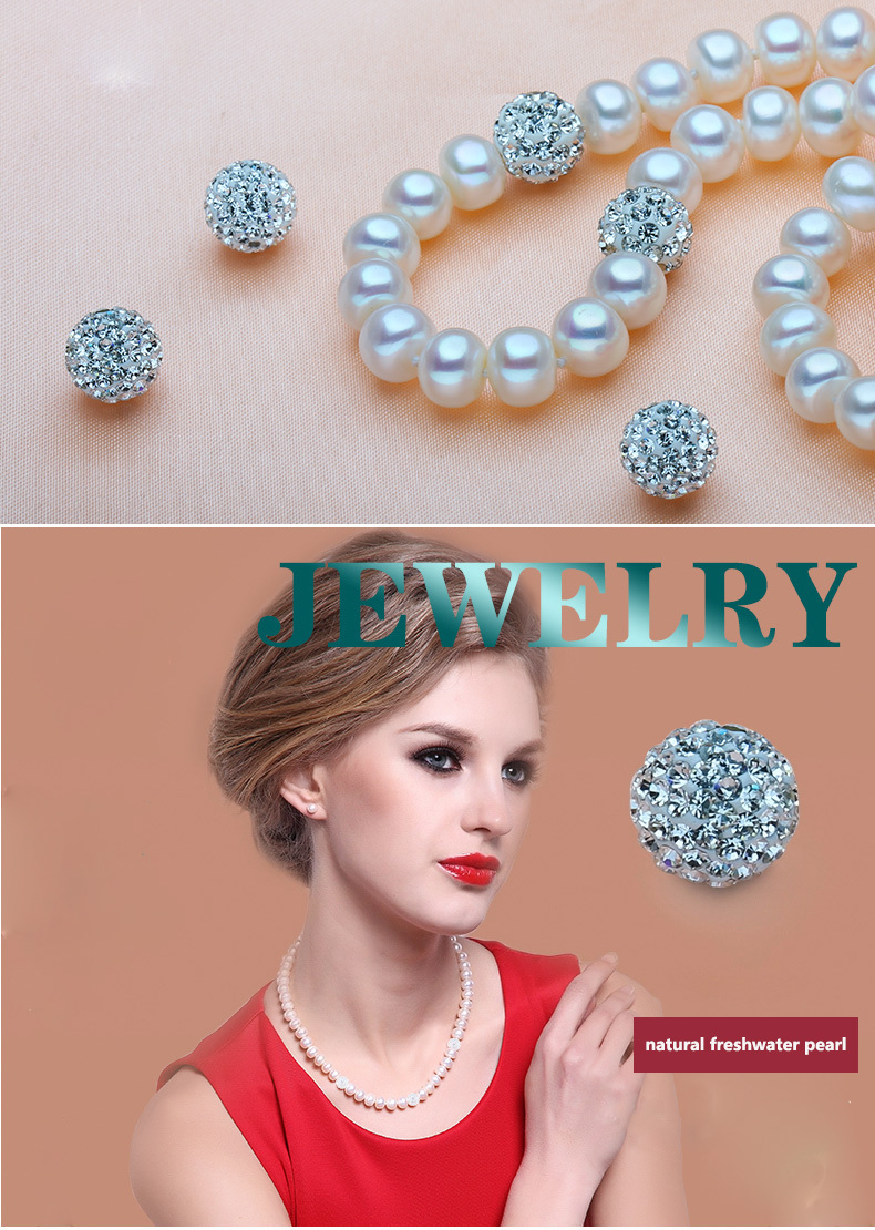 ZHBORUINI 2019 Pearl Necklace 925 Sterling Silver Jewelry For Women 8-9mm Crystal Ball Natural Freshwater Pearls Pearl Jewelry