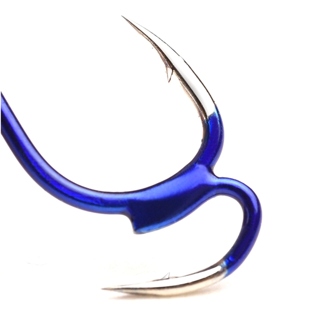 Super New 10Pcs High-carbon Steel Sharp Fighting Fishing Hook Fishhooks cb5feb1b7314637725a2e7: Blue
