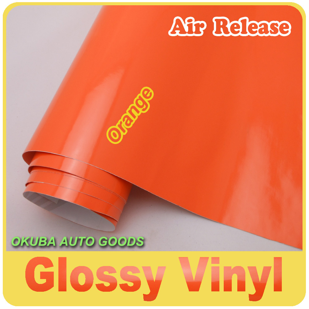 Orange Glossy Vinyl wrap film For Car Wrap Films with Air Bubble Free Size: 1.52*30m/Roll