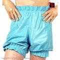 Light Blue Elastic Bands Frill Sexy Latex Bloomers Pantaloons Nappy Bermuda Hot pants Bottoms Long Leg Boxer Shorts XXXL
