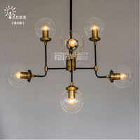 Retro Vintage E27 LED Glass Lighting Bubble Ball Pendant Lamp Droplight Chandelier Bedroom Light Reading Room Loft Cafe Bar