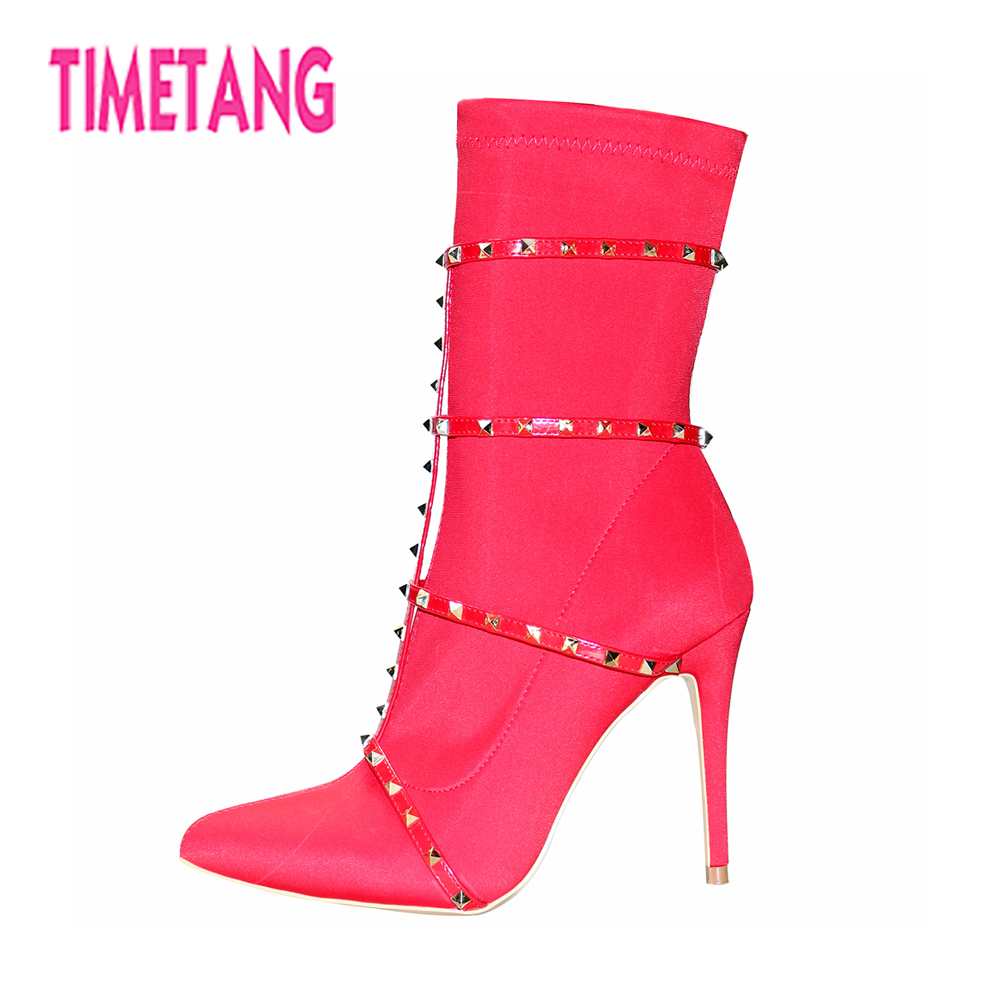 TIMETANG New Fashion Woman Shoes Cool Rivets Pointed Toe Sexy Thin Heel Women Boots Ankle Boots Color Customized Size 34-43