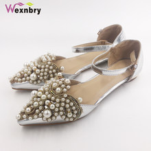127541e389969 Wexnbry New women flat shoes lady Spring shoe students summer sandals for  drive pregnant woman shoes pearl rhinestone plus 43
