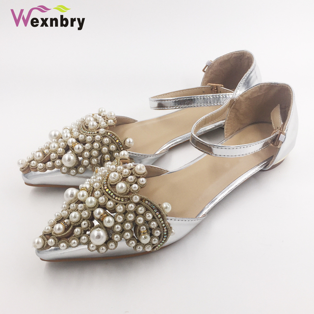 Wexnbry New women flat shoes lady Spring shoe students summer sandals for  drive pregnant woman shoes pearl rhinestone plus 43 db1df4c2aaf1