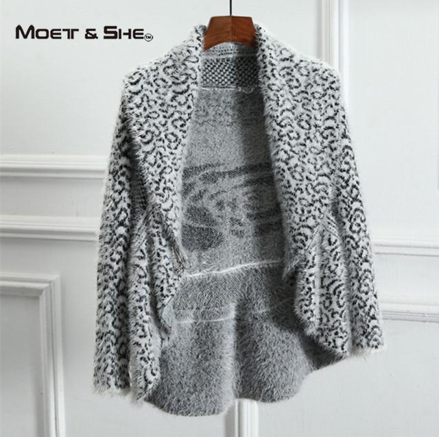 Atractivo de La Manera Del Leopardo Coreano Mujeres Cardigans Mantón de Punto Otoño Gira el Collar abajo Abrir Stitch Suéter Femenino C68255H