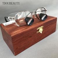 TDOUBEAUTY Private Custom High Grade Mahogany Box Embedded Magnifying Glass Titanium Alloy Frame Quartz Lenses High End Grade