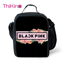 Thikin Blackpink KPop Girls Group Lunch Bags for Teen Fashion Portable Cooler Box Cartoon Pattern Tote Picnic Pouch