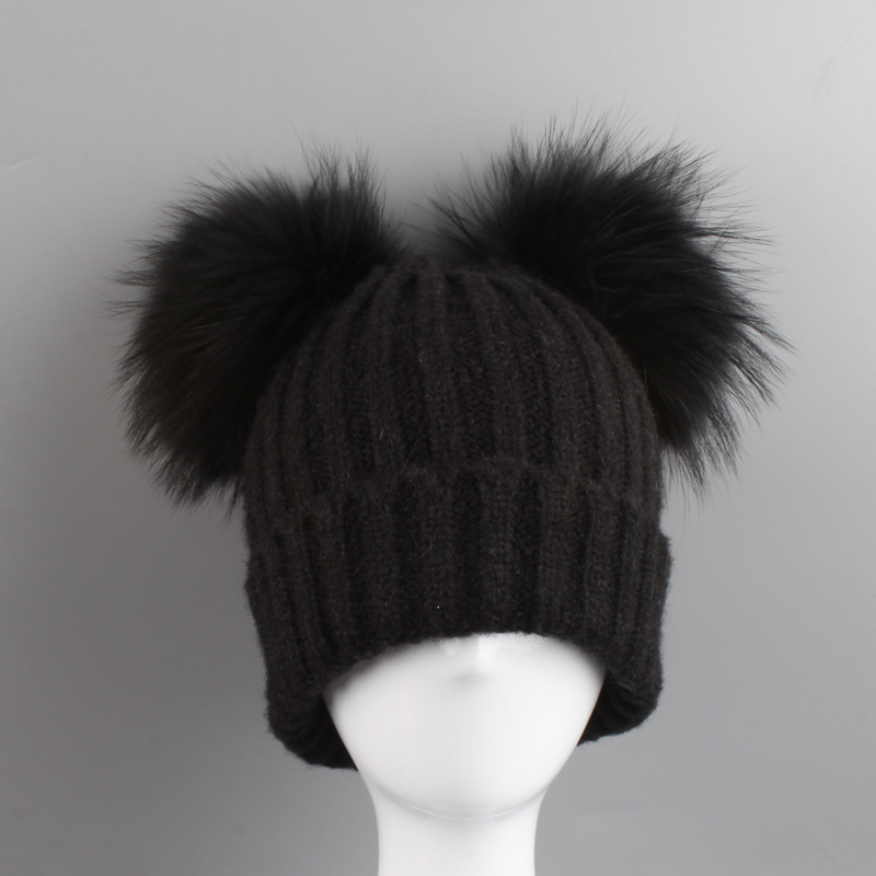 2017 New Baby Winter Hat Knit Mohair Baby Hats Two Pom Poms Girl Cap For  Children Cotton Warm Cap Cute Warm Kid Beanie Unisex-in Hats   Caps from  Mother ... a939df95a73