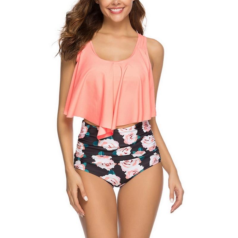 HTB1RPKGbiHrK1Rjy0Flq6AsaFXa9 2019 New Sexy Women Bikini Set Mujer Ruffle Floral Printed Swimsuit Push Up High Waist Bikini Biquinis Brazilian Swimwear Summer
