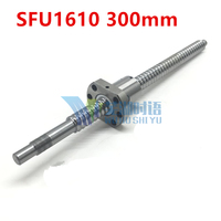 SFU1610 300มิลลิเมตร16มิลลิเมตรบอลสกรูSFU1610ความยาว300มิลลิเมตรบวก1ชิ้นRM1610 1610 Ballnut CNC DIYแกะสลักเครื่องอุปกรณ