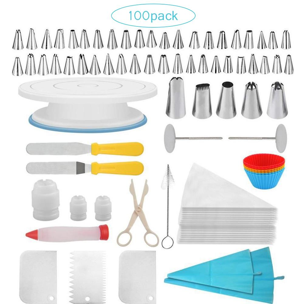 100 Piece Cake Decorating Supplies Turntable Piping Tip Nozzle Pastry Bag Set DIY Baking Tool