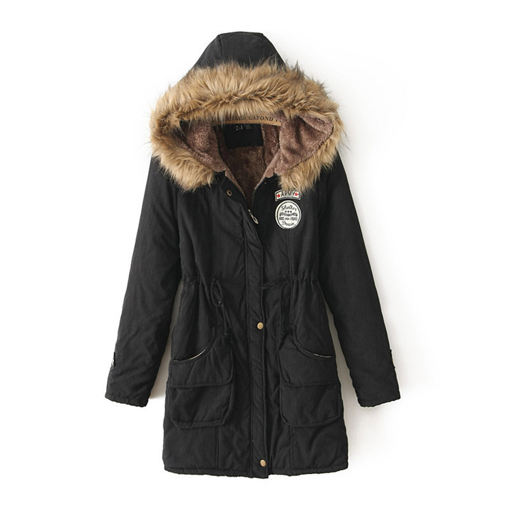 Women Winter Warm Overcoats Casual Gothic Thick   Parka   Straight Hooded Zipper Epaulet Female Fashion Plus Size Cotton Coats