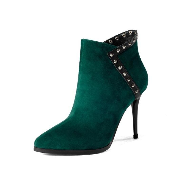 Il Chic A Smeraldo Con Tacchi Borchie Punta Alti Nero Le Scarpe Stivali Per  verde Scamosciata Pelle In Donna De ... f6dd372db22