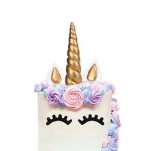METABLE 2Pack Cake Topper, Handmade Gold Unicorn Birthday Reusable Horn, Ears Eyelash Set