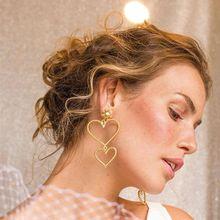 1  Bohemian Heart Shape Earrings Gold Color Drop Earrings For Women Fashion Jewelry pair of charming solid color 1 shape earrings for women