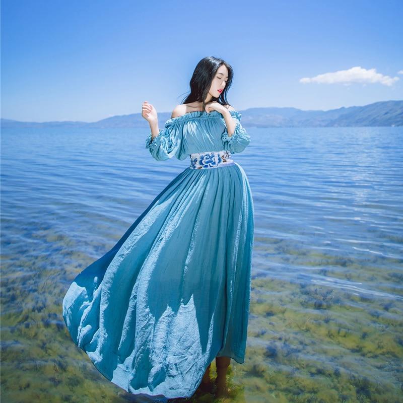 Sleeves Summer Vitality Holiday Gorgeous Sexy Sky Thin Seven Dress Blue Embroidery Slim Autumn Stitching Handicraft Tafforda Yarn Silk 6IqFSnS
