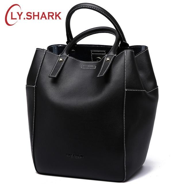 LY.SHARK Brand Luxury Handbags Women Bags Designer Large Shoulder Messenger Bag Casual Bucket Lady Genuine Leather Bags Tote New