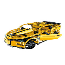 Cada Double E 419Pcs Yellow Technic DIY Remote Control Car Assemble Building RC Blocks Intelligence Toys For Children 1/18 Scale