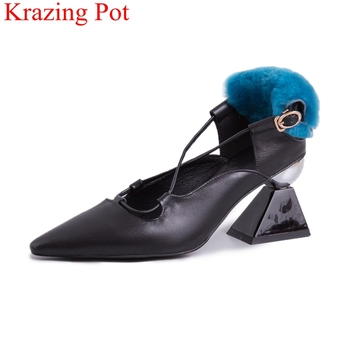 Superstar cow leather strange style shallow pointed toe women pumps gladiator sweet fur high heels office lady wedding shoes L33