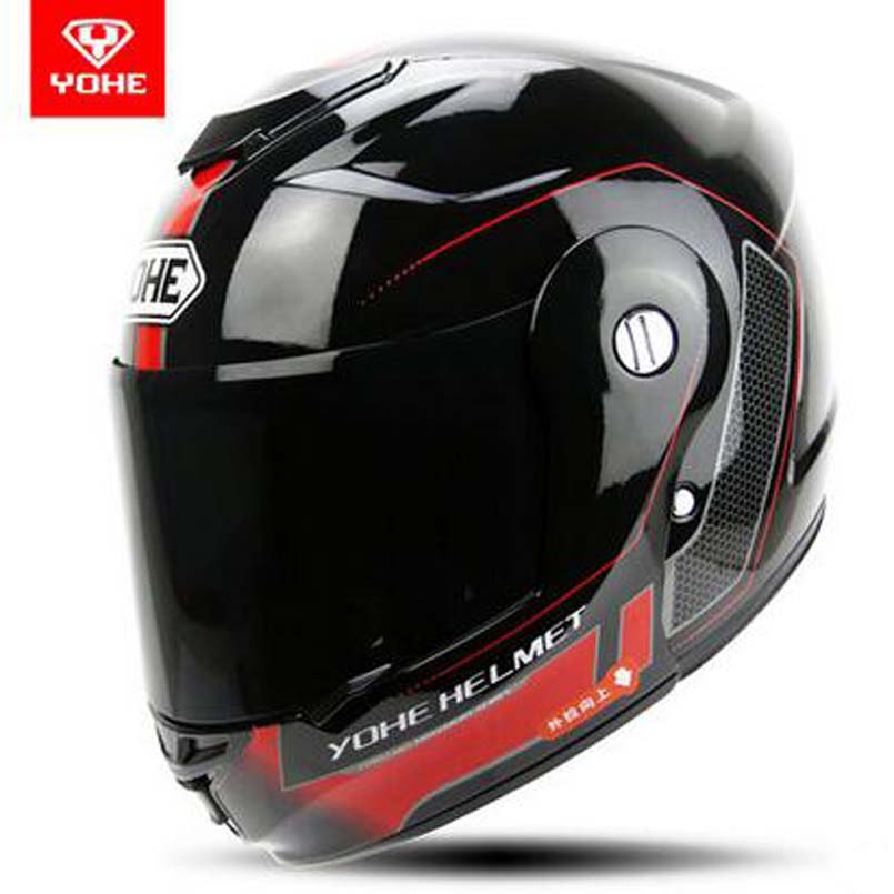 YOHE Nouveau undrape visage casque de moto Hiver chaud Plein visage électrique sécurité casque Open face moto casques noir lentille YH-973