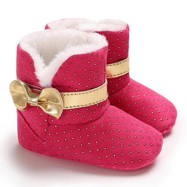 5 colors  New Brand Infant winter boots  Newborn Baby Toddler  Girl Soft  bow Bow Crib Shoes Warm Boots Plush Insole boots