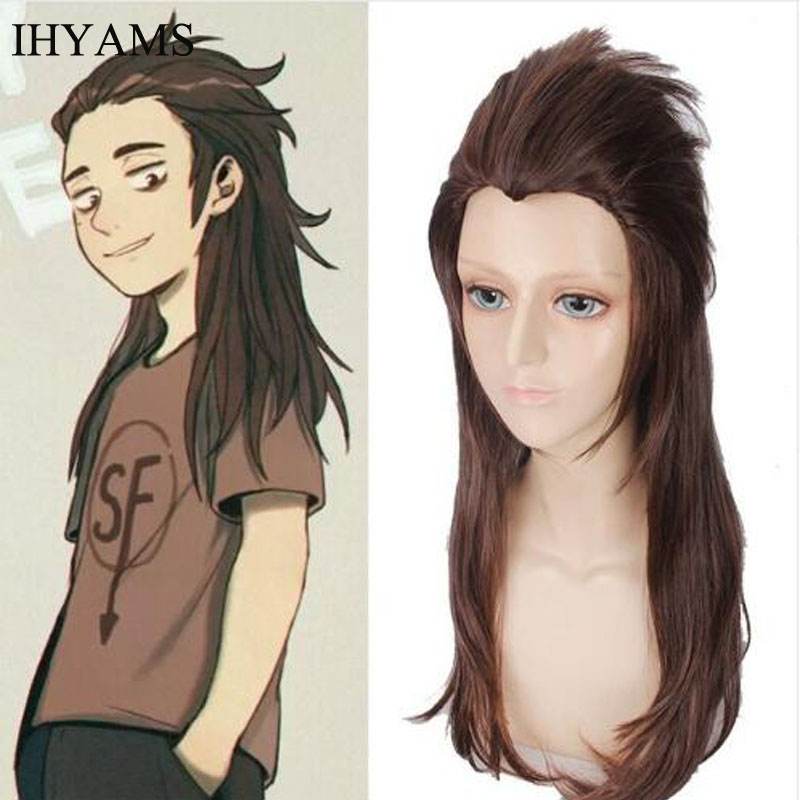 Cosplay Costume Game Larry Sally Face 65cm Hair Brown Wig Free-Wig-Cap Heat-Resistant