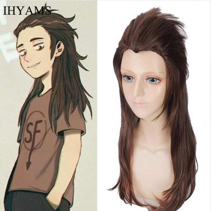 Game Sally face Sallyface Larry 65cm Long Brown Styled Heat Resistant Hair Cosplay Costume Wig + Free Wig Cap