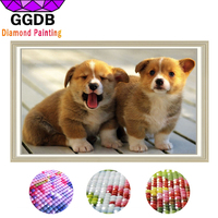 GGDB Full 5D DIY Square Diamond Painting Cross Stitch Two Dogs Animal 3D Embroidery Cross Stitch