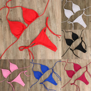 Tie Side Solid Color G-String Thong Bikini 3